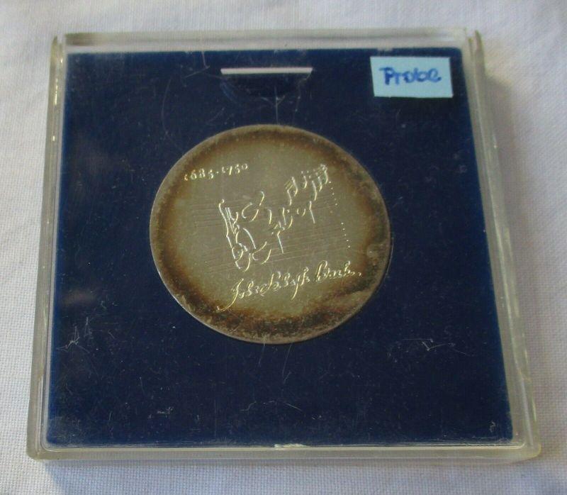 DDR Gedenk Münze 20 Mark Johann Sebastian Bach Silber Relief Probe (132025)
