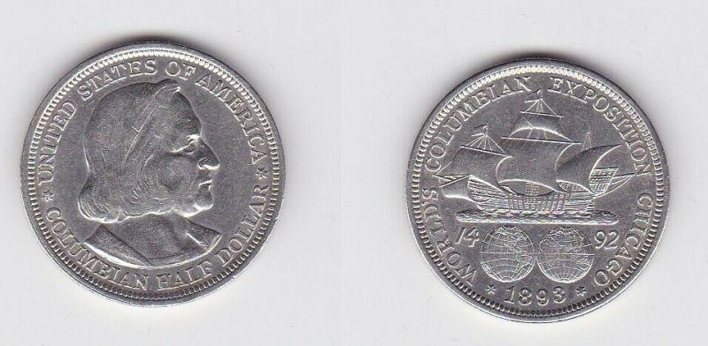 1/2 Dollar Silber Münze USA Kolumbusausstellung Chicago 1893 (131106)