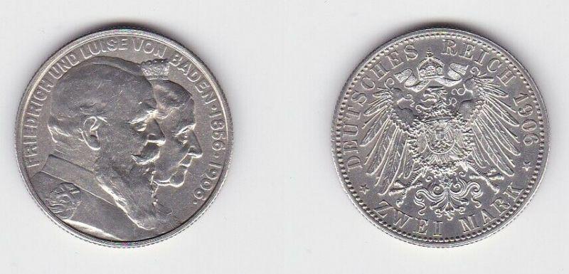 2 Mark Silbermünze Baden goldene Hochzeit 1906 Jäger 34  (131172)
