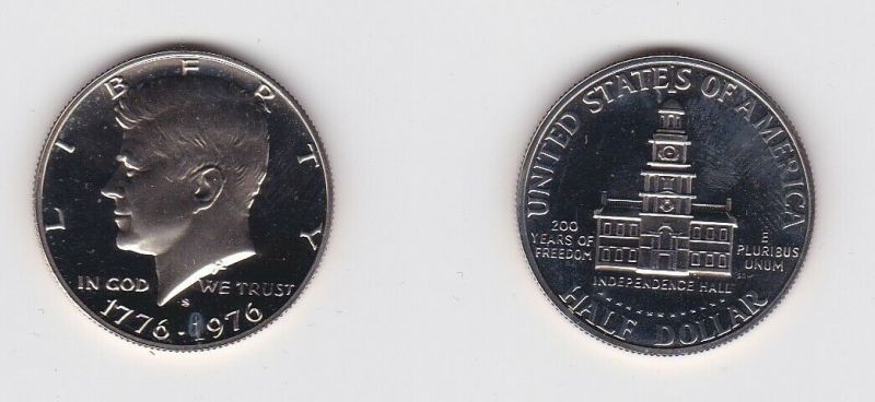 1/2 Dollar Silber Münze USA 1776-1976 Independence Hall 200J. Frieden (131397)