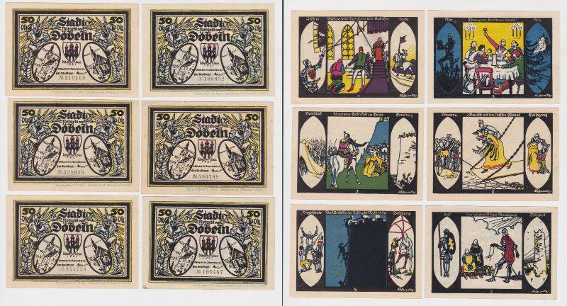 6 Banknoten Notgeld Stadt Döbeln 1921 (132486)