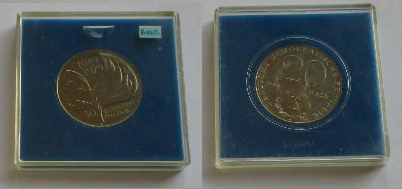 DDR Gedenk Münze 20 Mark 30. Jahrestag der DDR 1979 Probe Stempelglanz (131702)