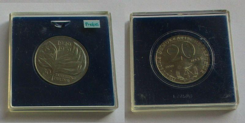 DDR Gedenk Münze 20 Mark 30. Jahrestag der DDR 1979 Probe Stempelglanz (131667)