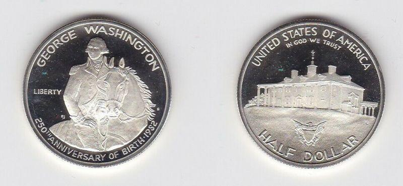 1/2 Dollar Silbermünze USA 1952 250. Geburtstag George Washington (130950)