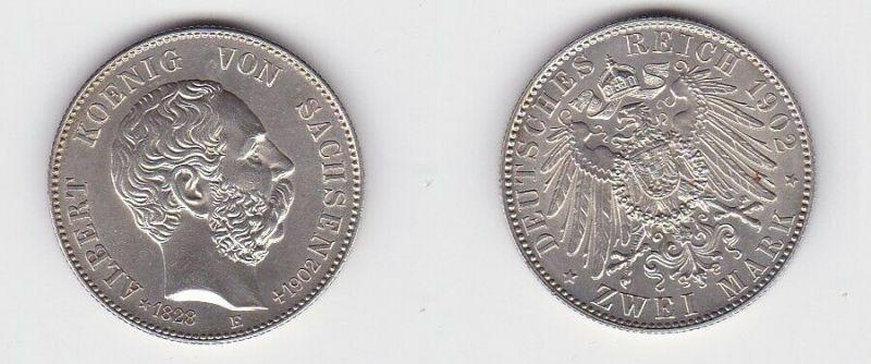 2 Mark Silbermünze Sachsen König Albert auf den Tod 1902 Jäger 128 Stgl (131196)