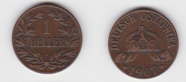 1 Heller Kupfer Münze Deutsch Ostafrika 1907 J (130147)