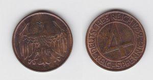 4 Pfennig Kupfer Münze Deutsches Reich 1932 D  (131078)