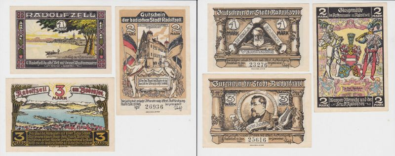 1, 2 & 5 Mark Banknoten Notgeld Stadt Radolfzell 1921 (132243)