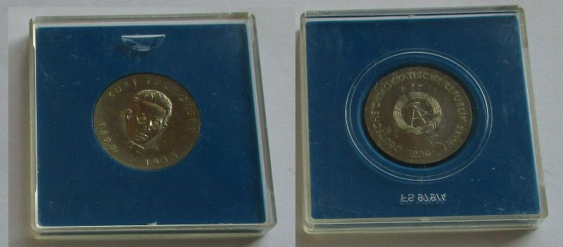 DDR Gedenk Münze 5 Mark Kurt Tucholsky 1990 Stempelglanz (131619)