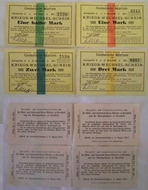 4 Banknoten Kriegs-Wechselschein Gemeinde Marten 11.08.1914 (132525)