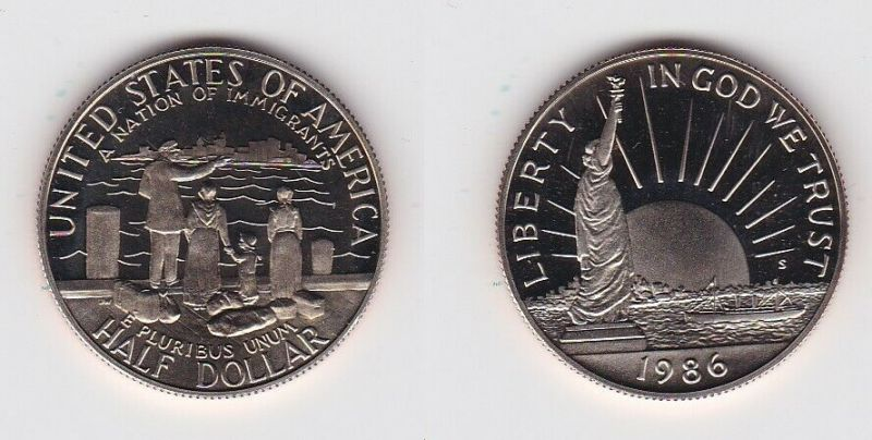 1/2 Dollar Münze USA 1986 Ellis Island 100 Jahre Freiheitsstatue (131093)