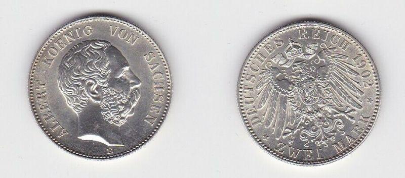 2 Mark Silbermünze Sachsen König Albert 1902 Jäger 124 Stgl. (131003)