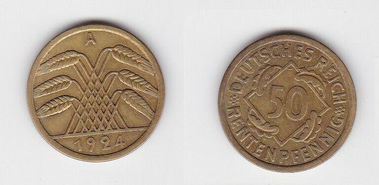 50 Rentenpfennig Messing Münze Weimarer Republik 1924 A Jäger 310 (130903)