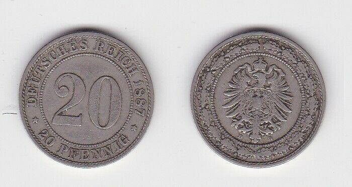 20 Pfennig Nickel Münze Kaiserreich 1887 D Jäger 6 (130095)