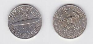 Silber Münze 3 Mark Graf Zeppelin Weltflug 1929 A (131029)