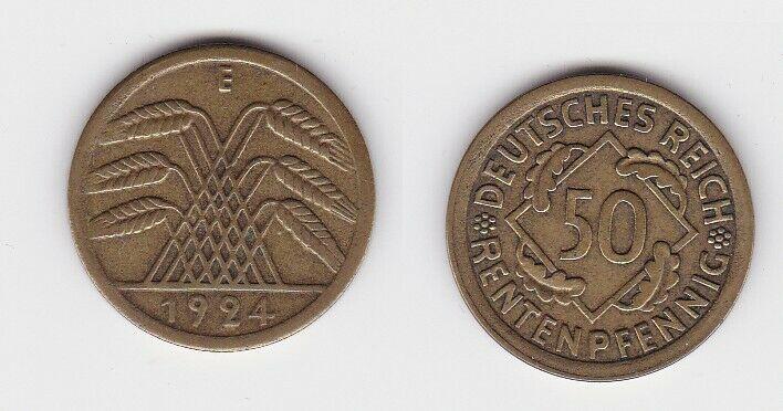 50 Rentenpfennig Messing Münze Weimarer Republik 1924 E Jäger 310 (131231)