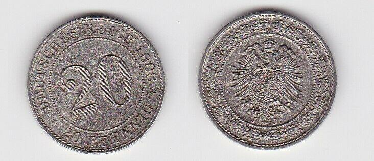20 Pfennig Nickel Münze Kaiserreich 1888 J Jäger 6  (130656)
