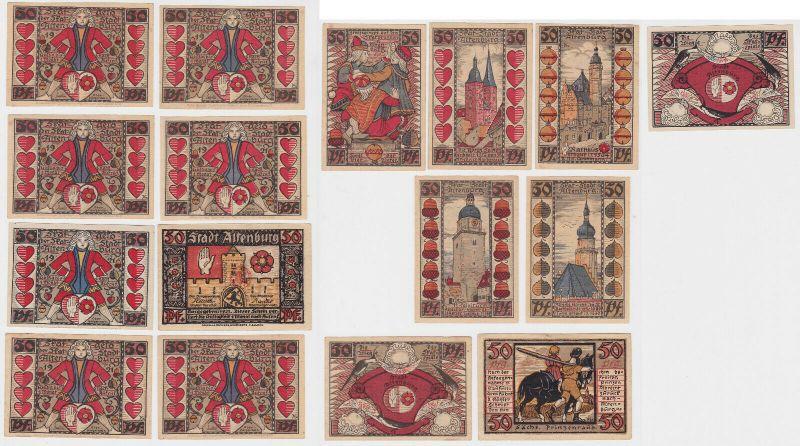 8x 50 Pfennig Banknoten Notgeld Stadt Altenburg Skatserie 1921 (132135)