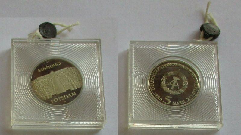 DDR Gedenk Münze 5 Mark Potsdam Sanssouci 1986 PP verplombt (132095)
