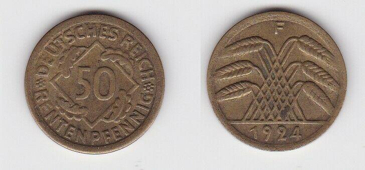 50 Rentenpfennig Messing Münze Weimarer Republik 1924 F Jäger 310 (130060)