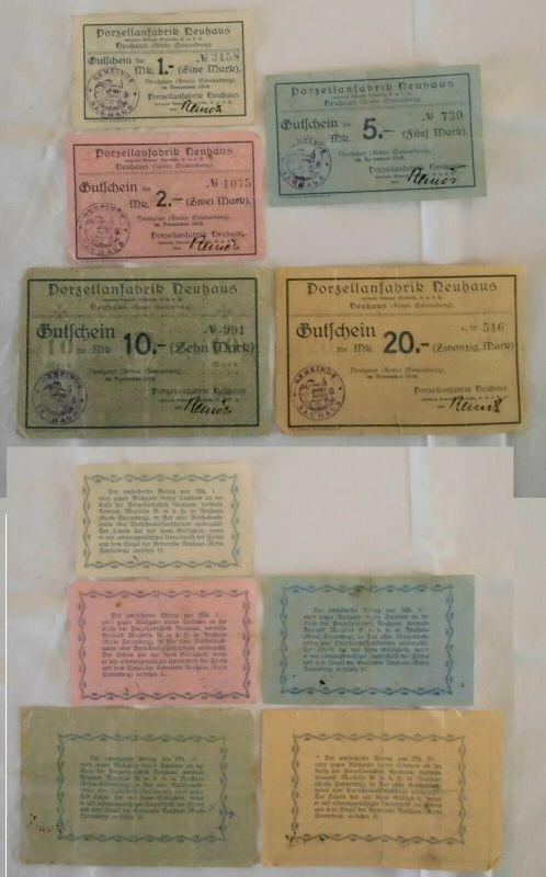 5 Banknoten Notgeld Porzellanfabrik Neuhaus Kreis Sonneberg 1918 (132981)