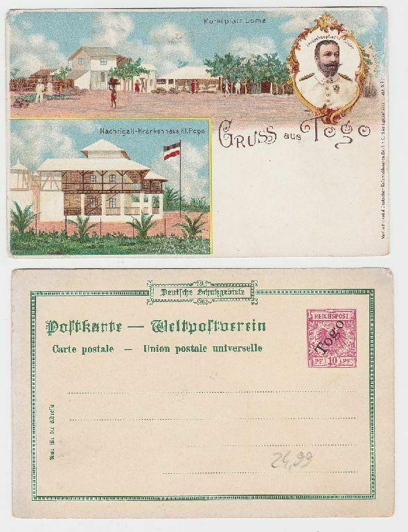 72537 Ganzsachen Ak Lithographie Gruß aus Togo, Lome, Klein Popo um 1900