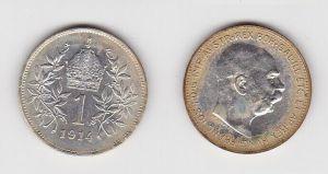 1 Krone Silber Münze Österreich 1914 (120540)