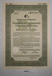500 RM Obligation Staatliche Kreditanstalt Oldenburg-Bremen 1.Sep. 1941 (128940)