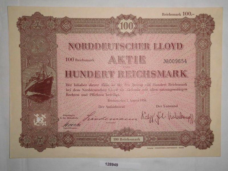 100 Reichsmark Aktie Norddeutscher Lloyd Bremen 1. August 1936 (128949)