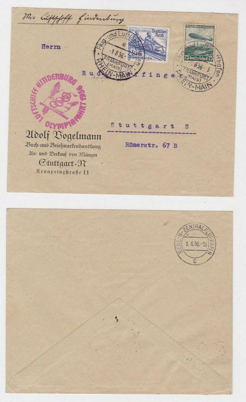 Zeppelin Luftschiff Hindenburg Brief Olympiafahrt 1936 (121332)