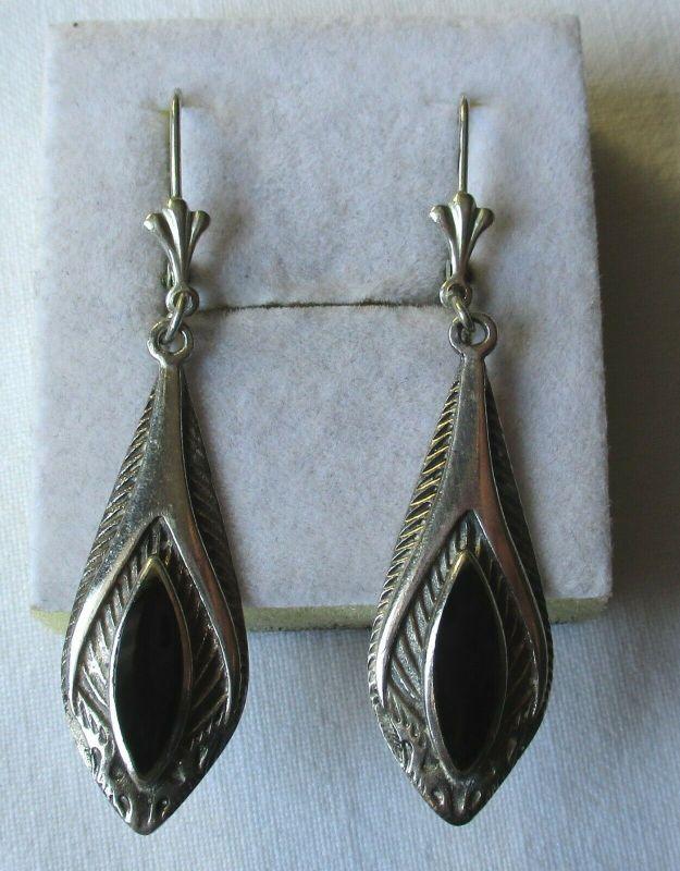 Elegante Ohrringe aus 925er Sterling Silber Pfauenauge mit Onyx Stein (107668)