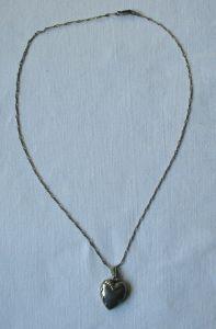 Edle Damenkette Kette aus 900er Silber mit 835er Silber Herz Anhänger (107281)
