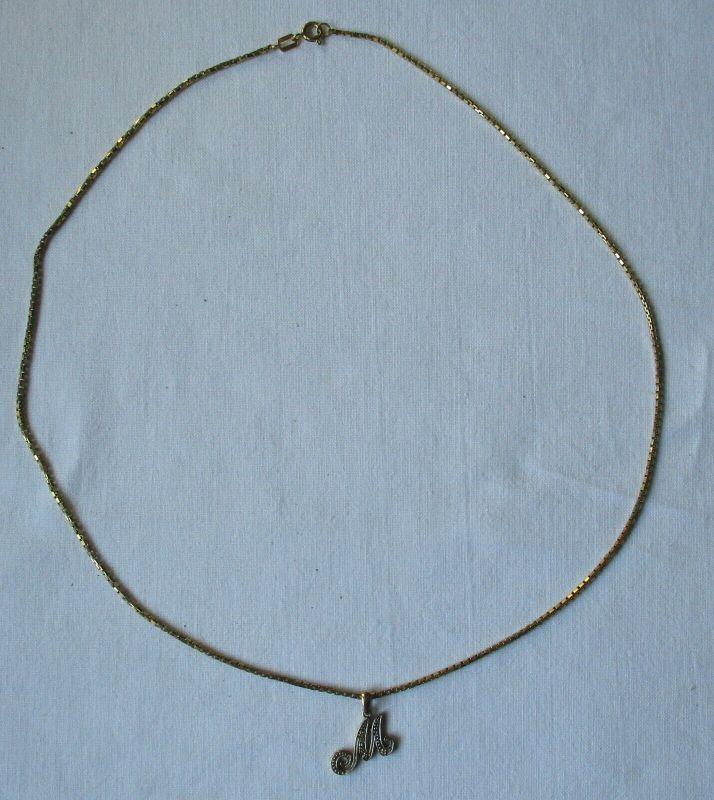 Hochwertige Damenkette Kette aus 333er Gold mit Initialen Anhänger M (108976)