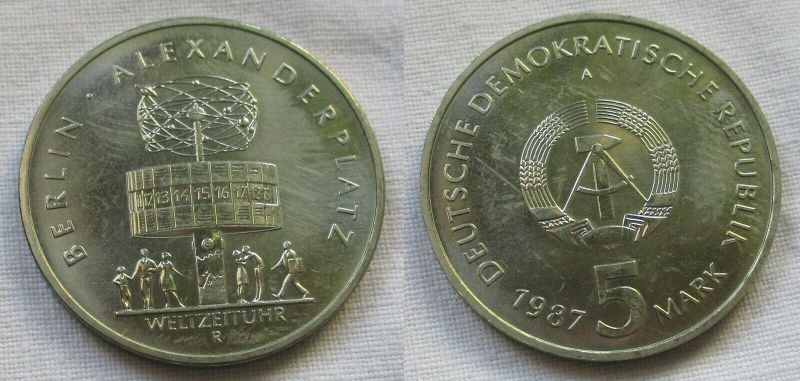 DDR Gedenk Münze 5 Mark 750 Jahre Berlin Alexanderplatz 1987 (115161)