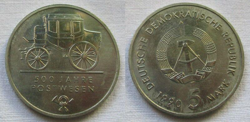 DDR Gedenk Münze 5 Mark 500 Jahre Postwesen 1990 (118727)