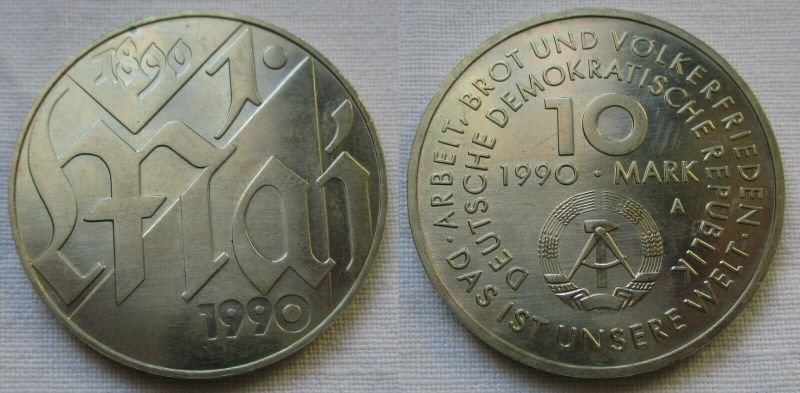 DDR Gedenk Münze 10 Mark 100.Jahre 1.Mai Feiertag 1990 (115884)