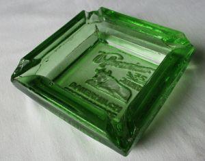 Reklame Glas Aschenbecher 75 Jahre Schweriner Dauermilch Erzeugnisse (115823)