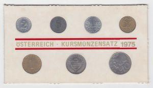 2 Groschen - 10 Schilling KMS Kursmünzensatz Österreich 1975 (113275)