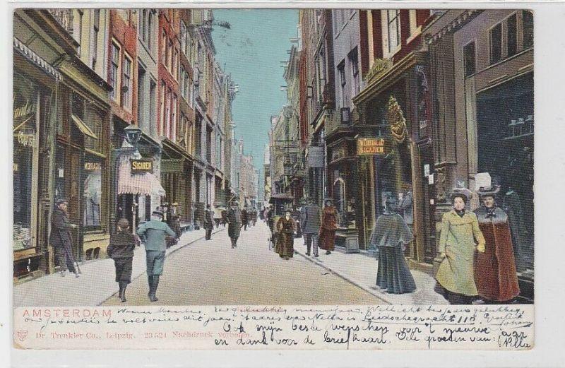 88317 Ak Amsterdam Niederlande Strassenansicht mit Geschäften 1904