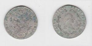 20 Kreuzer Silber Münze RDR Habsburg Österreich Franz II. 1806 C (127295)