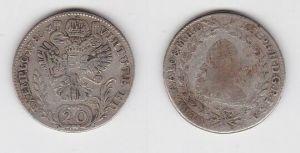 20 Kreuzer Silber Münze RDR Habsburg Österreich 1780 Joseph II. (120155)