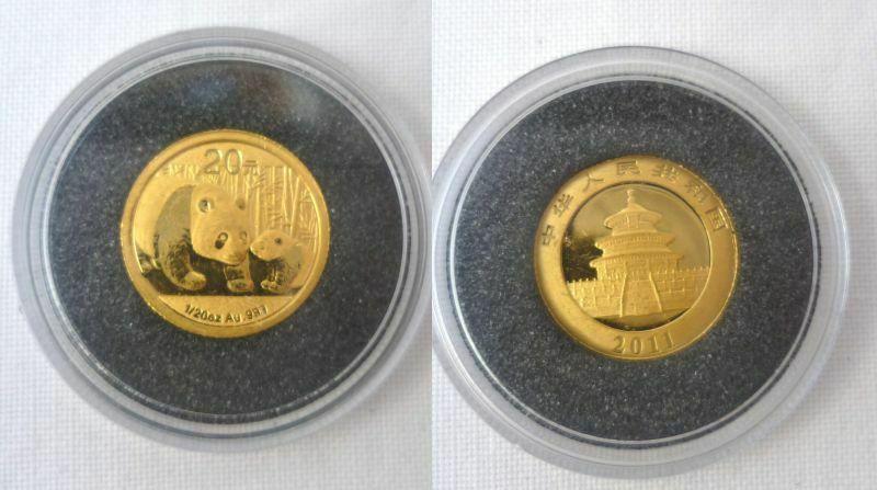 20 Yuan Gold Münze China Panda 1/20 Unze 999er Gold 2011 Stgl. (BN3175)