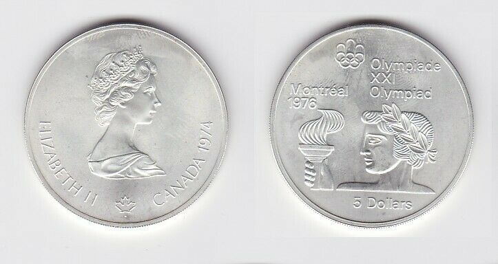 5 Dollar Silber Münze Canada Kanada Olympiade Montreal Indianer 1974 (124590)