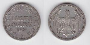 3 Mark Silbermünze Weimarer Republik 1924 A Jäger 312 (121848)