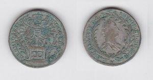 20 Kreuzer Silber Münze RDR Habsburg Österreich 1764 Franz I Stephan (124140)