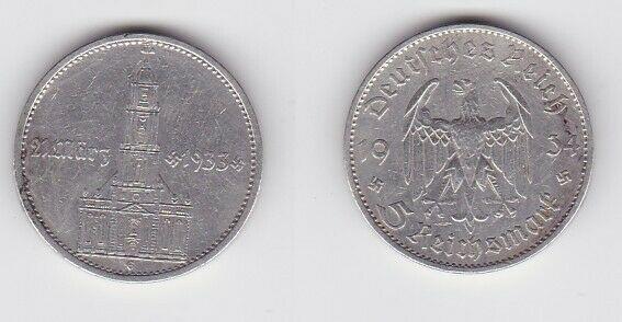 5 Mark Silber Münze 3. Reich Garnisonkirche 1934 G (127122)