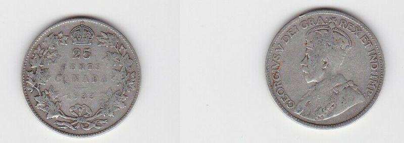 25 Cents Silber Münze Kanada Georg V. 1933 (126960)