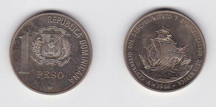 1 Peso Nickel Münze Dominikanische Republik Entdeckung Amerika 1988 (125623)
