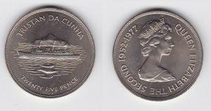 25 Pence Nickel Münze Tristan da Cunha Schiff HMY