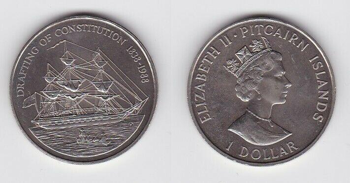 1 Dollar Münze Pitcairn Inseln Ausarbeitung der Verfassung 1838-1988 (125948)